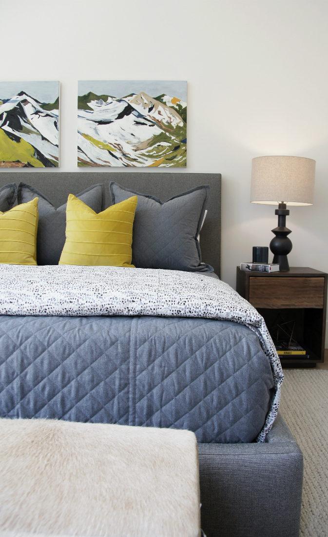 bedroom-design-yellow-accent-pillows-mountain-wall-art-canvas