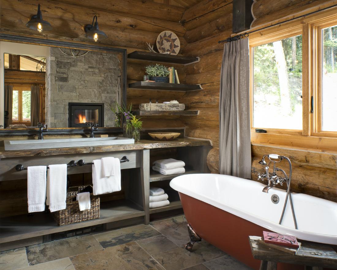 clawfoot-bathtub-log-cabin-bathroom-big-sky-mt