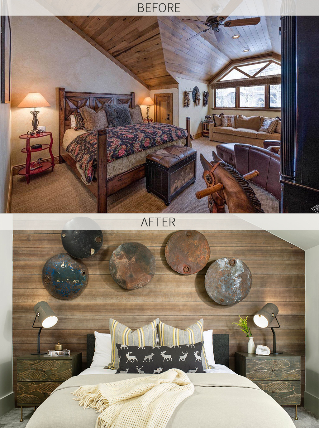 master-bedroom-bed-wood-accent-wall-hanging-rusted-wall-art